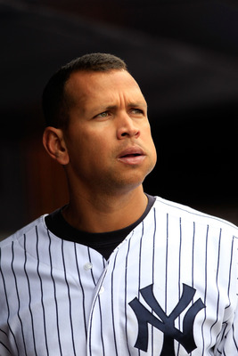 NEW YORK, NY - MAY 01:  Alex Rodriguez #13 of the New York Yankees looks on from the dugout during the game against the Toronto Blue Jays at Yankee Stadium on May 1, 2011 in the Bronx borough of New York City. The Yankees defeated the Blue Jays 5-2.  (Pho