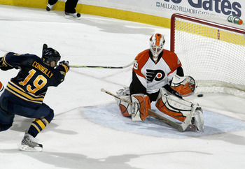 BUFFALO, NY - MARCH 05: Tim Connolly #19 of the Buffalo Sabres scores the game winning goal in overtime against Michael Leighton #49 of the Philadelphia Flyers at HSBC Arena  on March 5, 2010 in Buffalo, New York.  (Photo by Rick Stewart/Getty Images)