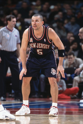 27 Dec 2001:  Point guard Jason Kidd #5 of the New Jersey Nets plays defense during the NBA game against the Detroit Pistons at the Palce of Auburn Hills in Auburn Hills, Michigan.  The Nets defeated the Pistons 88-75.Mandatory Credit:  Tom Pidgeon/Getty