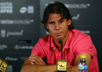 MADRID, SPAIN - MAY 01:  Rafael Nadal of Spain looks on in a press conference during day two of the Mutua Madrilena Madrid Open Tennis on May 1, 2011 in Madrid, Spain.  (Photo by Julian Finney/Getty Images)