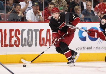 GLENDALE, AZ - MARCH 29:  Radim Vrbata #17 of the Phoenix Coyotes skates with the puck during the NHL game against the Dallas Stars at Jobing.com Arena on March 29, 2011 in Glendale, Arizona. The Coyotes defeated the Stars 2-1 in an overtime shoot out.  (