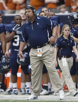 HOUSTON - SEPTEMBER 04:  Head coach David Bailiff of the Rice Owls during game action against the Texas Longhorns at Reliant Stadium on September 4, 2010 in Houston, Texas. Texas won 34-17.  (Photo by Bob Levey/Getty Images)