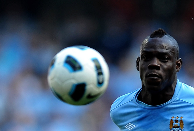 MANCHESTER, ENGLAND - MAY 01:  Mario Balotelli of Manchester City in action during the Barclays Premier League match between Manchester City and West Ham United at the City of Manchester Stadium on May 1, 2011 in Manchester, England. (Photo Laurence Griff
