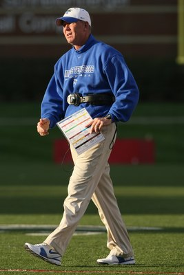 LOUISVILLE, KY - OCTOBER 18:  Head Coach Rick Stockstill of the Middle Tennessee Blue Raiders walks on the field during the game against the Louisville Cardinals at Papa John's Cardinal Stadium on October 18, 2008 in Louisville, Kentucky.  Louisville defe