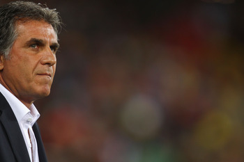 CAPE TOWN, SOUTH AFRICA - JUNE 29:  Carlos Queiroz head coach of Portugal looks thoughtful ahead of the 2010 FIFA World Cup South Africa Round of Sixteen match between Spain and Portugal at Green Point Stadium on June 29, 2010 in Cape Town, South Africa.