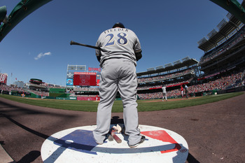 WASHINGTON, DC - APRIL 17:  Prince Fielder #28 of the Milwaukee Brewers in the on deck circle against the Washington Nationals during the second game of a doubleheader at Nationals Park on April 17, 2011 in Washington, DC.  (Photo by Rob Carr/Getty Images