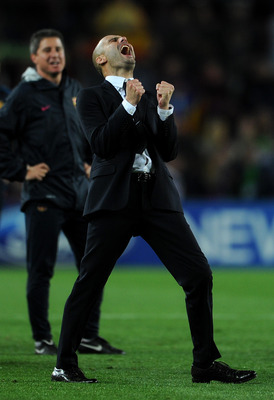 BARCELONA, SPAIN - MAY 03:  Head coach Josep Guardiola of Barcelona celebrates at the end of the UEFA Champions League Semi Final second leg match between Barcelona and Real Madrid at the Camp Nou stadium on May 3, 2011 in Barcelona, Spain.  (Photo by Jas