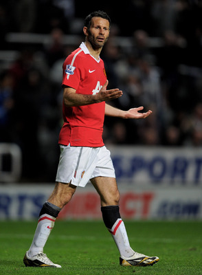 NEWCASTLE UPON TYNE, ENGLAND - APRIL 19:  Ryan Giggs of Manchester United reacts during the Barclays Premier League match between Newcastle United and Manchester United at St James' Park on April 19, 2011 in Newcastle, England.  (Photo by Michael Regan/Ge