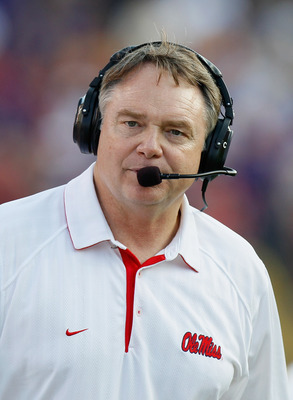 BATON ROUGE, LA - NOVEMBER 20:  Head coach Houston Nutt of the Ole Miss Rebels against the Louisiana State University Tigers at Tiger Stadium on November 20, 2010 in Baton Rouge, Louisiana.  (Photo by Kevin C. Cox/Getty Images)