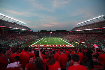 NEW BRUNSWICK, NJ - SEPTEMBER 02:  Rutgers Stadium is seen on the opening night of the Scarlet Knights' 2010 football season on September 2, 2010 in New Brunswick, New Jersey.  The Scarlet Knights defeated the Norfolk State Spartans 31 - 0.  (Photo by And