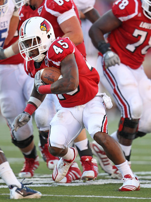 LOUISVILLE, KY - SEPTEMBER 04:  Blayne Donnell #45 of the Louisville Cardinals runs with the ball during the game against the Kentucky Wildcats at Papa John's Cardinal Stadium on September 4, 2010 in Louisville, Kentucky.  (Photo by Andy Lyons/Getty Image