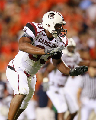 AUBURN, AL - SEPTEMBER 25:  Cliff Matthews #83 of the South Carolina Gamecocks against the Auburn Tigers at Jordan-Hare Stadium on September 25, 2010 in Auburn, Alabama.  (Photo by Kevin C. Cox/Getty Images)
