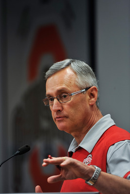 COLUMBUS, OH - MARCH 30:  Head Coach Jim Tressel speaks to the media during a press conference before the start of Spring practices at the Woody Hayes Athletic Center at The Ohio State University on March 30, 2011 in Columbus, Ohio. (Photo by Jamie Sabau/