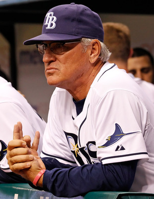 ST. PETERSBURG, FL - APRIL 15:  Manager Joe Maddon #70 of the Tampa Bay Rays watches his team during a game against the Minnesota Twins during the game at Tropicana Field on April 15, 2011 in St. Petersburg, Florida.  (Photo by J. Meric/Getty Images)