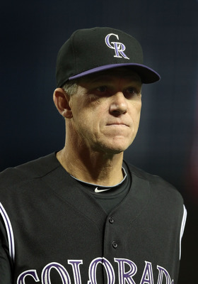 PHOENIX, AZ - MAY 03:  Manager Jim Tracy of the Colorado Rockies walks back to the dugout after a visit to the mound during the Major League Baseball game against the Arizona Diamondbacks at Chase Field on May 3, 2011 in Phoenix, Arizona.  (Photo by Chris
