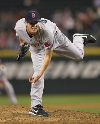 SEATTLE - SEPTEMBER 14:  Relief pitcher Rich Hill #53 of the Boston Red Sox pitches against the Seattle Mariners at Safeco Field on September 14, 2010 in Seattle, Washington. The Red Sox won 9-6. (Photo by Otto Greule Jr/Getty Images)