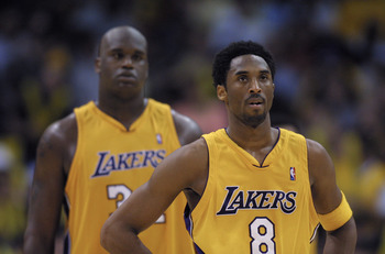 22 Apr 2001: Kobe Bryant #8  and Shaquille O''Neal #34 of the Los Angeles Lakers during Game 1 of the NBA Playoffs against the Portland Trail Blazers at the Staples Center in Los Angeles, California.  The Lakers won 106-93.   DIGITAL IMAGE.  Mandatory Cre