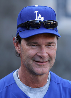 LOS ANGELES, CA - APRIL 16:  Los Angeles Dodgers manager Don Mattingly looks on prior to the start of the game against the St Louis Cardinals at Dodger Stadium on April 16, 2011 in Los Angeles, California.  (Photo by Jeff Gross/Getty Images)
