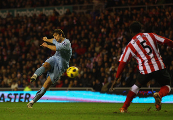 SUNDERLAND, ENGLAND - FEBRUARY 12:  Niko Kranjcar of Spurs scores his teams second goal during the Barclays Premier League match between Sunderland and Tottenham Hotspur at the Stadium of Light on February 12, 2011 in Sunderland, England.  (Photo by Julia