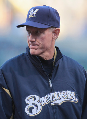 PITTSBURGH, PA - APRIL 13:  Milwaukee Brewers Manager Ron Roenicke #10 waits at home plate during their game against the Pittsburgh Pirates at PNC Park on April 13, 2011 in Pittsburgh, Pennsylvania.  (Photo by Scott Halleran/Getty Images)