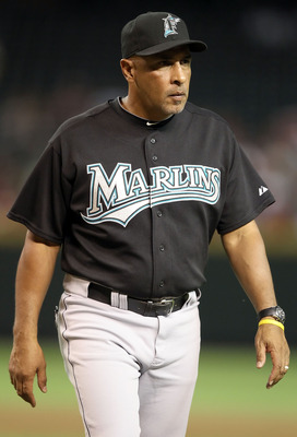 PHOENIX - JULY 08:  Manager Edwin Rodriguez of the Florida Marlins during the Major League Baseball game against the Arizona Diamondbacks at Chase Field on July 8, 2010 in Phoenix, Arizona. The Diamondbacks defeated the Marlins 10-4.  (Photo by Christian