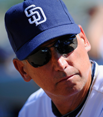 PEORIA, AZ - MARCH 13:  Manager Bud Black of the San Diego Padres looks on during the spring training baseball game against the Cleveland Indians at Peoria Stadium on March 13, 2011 in Peoria, Arizona.  (Photo by Kevork Djansezian/Getty Images)