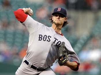 BALTIMORE, MD - APRIL 26:  Pitcher Clay Buchholz #11 of the Boston Red Sox delivers to a Baltimore Orioles batter during the first inning at Oriole Park at Camden Yards on April 26, 2011 in Baltimore, Maryland.  (Photo by Rob Carr/Getty Images)