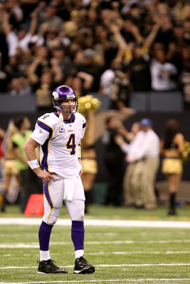 NEW ORLEANS - JANUARY 24:  Brett Favre #4 of the Minnesota Vikings reacts after he threw an interception late in the fourth quarter against the New Orleans Saints during the NFC Championship Game at the Louisiana Superdome on January 24, 2010 in New Orlea