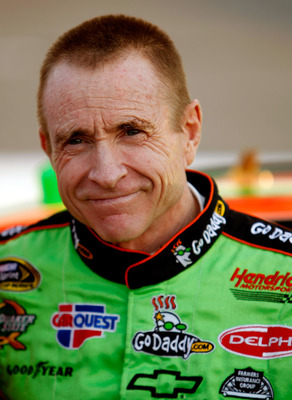 RICHMOND, VA - APRIL 30:  Mark Martin, driver of the #5 GoDaddy.com Chevrolet stands on the grid before the NASCAR Sprint Cup Series Crown Royal Presents The Matthew & Daniel Hansen 400 at Richmond International Raceway on April 30, 2011 in Richmond, Virg