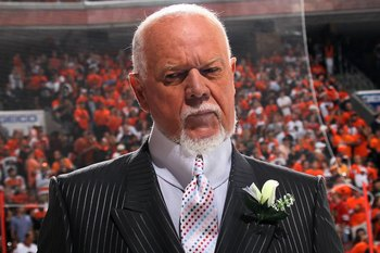 PHILADELPHIA - JUNE 09:  CBC sportscaster Don Cherry reports before Game Six of the 2010 NHL Stanley Cup Final between the Chicago Blackhawks and the Philadelphia Flyers at the Wachovia Center on June 9, 2010 in Philadelphia, Pennsylvania.  (Photo by Bruc