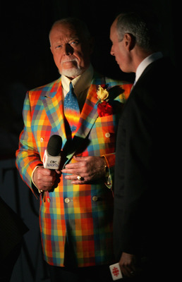 PITTSBURGH - MAY 28:  Don Cherry and Ron MacLean of CBC Sports stand on the ice before game three of the 2008 NHL Stanley Cup Finals between the Detroit Red Wings and the Pittsburgh Penguins at Mellon Arena on May 28, 2008 in Pittsburgh. Pennsylvania. The