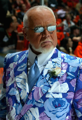 ANAHEIM, CA - MAY 30:  CBC News reporter, Don Cherry walks on the ice before the start of Game Two of the 2007 Stanley Cup finals between the Anaheim Ducks and the Ottawa Senators on May 30, 2007 at Honda Center in Anaheim, California.   (Photo by Bruce B