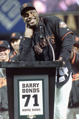 SAN FRANCISCO - OCTOBER 5:  Barry Bonds #25 of the San Francisco Giants smiles during a ceremony after the game against the Los Angeles Dodgers honoring Bonds breaking the single season home run record on October 5, 2001 at Pac Bell Park in San Francisco,