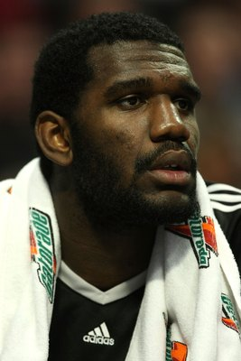 CHICAGO - JANUARY 12: Greg Oden #52 of the Portland Trail Blazers watches from the bench as his teammates take on the Chicago Bulls on January 12, 2009 at the United Center in Chicago, Illinois. The Trail Blazers defeated the Bulls 109-95. NOTE TO USER: U