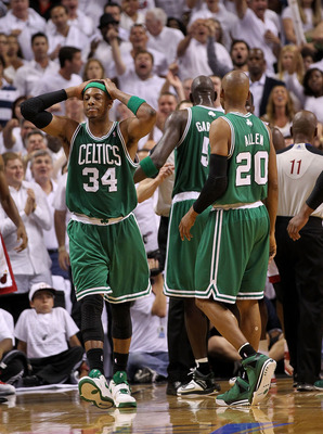 MIAMI, FL - MAY 01:  Paul Pierce #34 of the Boston Celtics reacts after his second technical foul resulting in ejection during Game One of the Eastern Conference Semifinals of the 2011 NBA Playoffs against the Miami Heat at American Airlines Arena on May