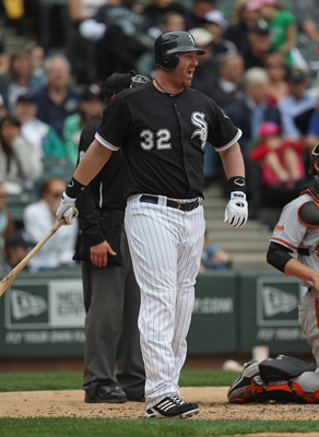 CHICAGO, IL - MAY 01: Adam Dunn #32 of the Chicago White Sox prepares to bat against the Baltimore Orioles at U.S. Cellular Field on May 1, 2011 in Chicago, Illinois. The Orioles defeated the White Sox 6-4. (Photo by Jonathan Daniel/Getty Images)