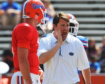 GAINESVILLE, FL - APRIL 9:  Coach Will Muschamp of the Florida Gators directs play during the Orange and Blue spring football game April 9, 2011 at Ben Hill Griffin Stadium in Gainesville, Florida.  (Photo by Al Messerschmidt/Getty Images)