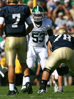 SOUTH BEND, IN - SEPTEMBER 19: Greg Jones #53 of the Michigan State Spartans awaits the start of play against the Notre Dame Fighting Irish on September 19, 2009 at Notre Dame Stadium in South Bend, Indiana. Notre Dame defeated Michigan State 33-30.  (Pho