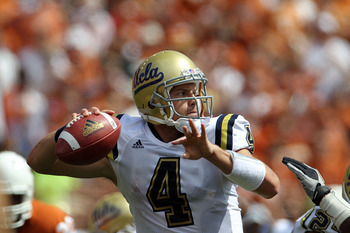 AUSTIN, TX - SEPTEMBER 25:  Quarterback Kevin Prince #4 of the UCLA Bruins looks to pass against the Texas Longhorns at Darrell K Royal-Texas Memorial Stadium on September 25, 2010 in Austin, Texas.  (Photo by Ronald Martinez/Getty Images)