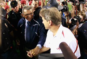 TUSCALOOSA, AL - SEPTEMBER 11:  Head coach Joe Paterno of the Penn State Nittany Lions congratulates head coach Nick Saban of the Alabama Crimson Tide during after their 24-3 loss at Bryant-Denny Stadium on September 11, 2010 in Tuscaloosa, Alabama.  (Pho