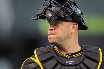 DENVER, CO - APRIL 29:  Catcher Chris Snyder #19 of the Pittsburgh Pirates looks on against the Colorado Rockies at Coors Field on April 29, 2011 in Denver, Colorado.  (Photo by Doug Pensinger/Getty Images)