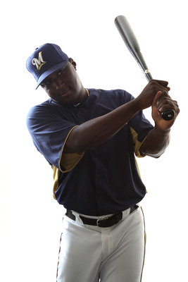 MARYVALE, AZ - FEBRUARY 24:  Yuniesky Betancourt #3 of the Milwaukee Brewers poses for a portrait during Spring Training Media Day on February 24, 2011 at Maryvale Stadium in Maryvale, Arizona.  (Photo by Jonathan Ferrey/Getty Images)