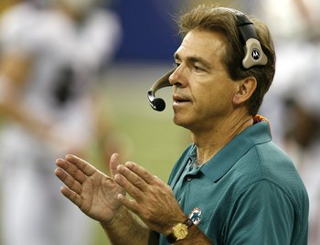 INDIANAPOLIS - DECEMBER 31:  Nick Saban head coach of the Miami Dolphins looks on during a game against the Indianapolis Colts at the RCA Dome December 31, 2006 in Indianapolis, Indiana. Indianapolis won the game 27-22.  (Photo by Gregory Shamus/Getty Ima
