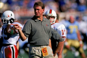 2 Sep 1995: Butch Davis of the Miami Hurricanes gives instructions from the sidelines during a game against the UCLA Bruins at the Rose Bowl in Pasadena, California . The Bruins defeated the Hurricanes 31-8. Mandatory Credit: Stephen Dunn  /Allsport