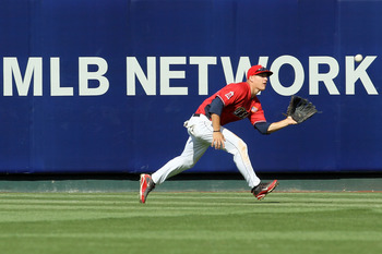 ANAHEIM, CA - JULY 11:  U.S. Futures All-Star Brett Jackson #13 of the Chicago Cubs makes the catch on a fly ball during the 2010 XM All-Star Futures Game at Angel Stadium of Anaheim on July 11, 2010 in Anaheim, California.  (Photo by Stephen Dunn/Getty I