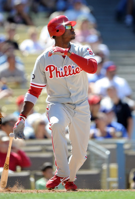 LOS ANGELES, CA - SEPTEMBER 01:  Dominic Brown #9 of the Philadelphia Phillies hits a double against the Los Angeles Dodgers at Dodger Stadium on September 1, 2010 in Los Angeles, California.  (Photo by Harry How/Getty Images)