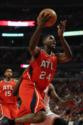CHICAGO, IL - MAY 04: Marvin Williams #24 of the Atlanta Hawks drives to the basket against the Chicago Bulls in Game Two of the Eastern Conference Semifinals in the 2011 NBA Playoffs at the United Center on May 4, 2011 in Chicago, Illinois. NOTE TO USER: