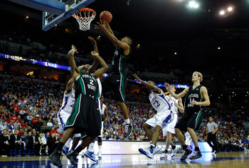 OMAHA, NE - MARCH 20:  Julius Thomas #1 of the Portland State Vikings goes up for a rebound against the Kansas Jayhawks during the Midwest Region first round of the 2008 NCAA Men's Basketball Tournament on March 20, 2008 at the Qwest Center in Omaha, Nebr
