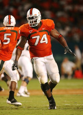 MIAMI - AUGUST 28:  Offensive lineman Orlando Franklin #74 of the Miami Hurricanes rolls out to block against the Charleston Southern Buccaneers at Dolphin Stadium on August 28, 2008 in Miami, Florida. Miami defeated Charleston Southern 52-7.  (Photo by D