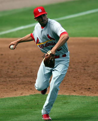PORT ST. LUCIE, FL - MARCH 03: Third baseman Matt Carpenter #32 of the St. Louis Cardinals plays the field against the New York Mets at Digital Domain Park on March 3, 2011 in Port St. Lucie, Florida.  (Photo by Marc Serota/Getty Images)